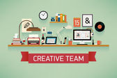 Creative team featuring various workspace — Stock Vector