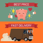 Fast delivery and best price. — Stock vektor