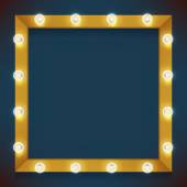 Square frame glowing with lamps — Stock Vector
