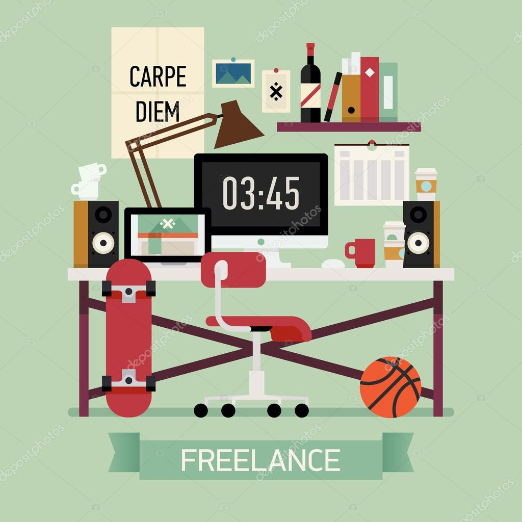 Freelancer workplace design — Stock Vector © masha_tace #62960857