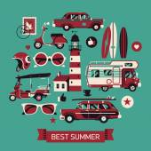 Best summer travel icons — Stock Vector