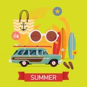 Summer vacation items — Stock Vector