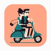 Couple riding scooter together. — Vetor de Stock