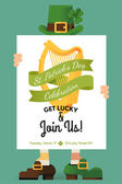 St. Patrick's Day greeting postcard — ストックベクタ