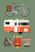 Caravan travel trailer — Vector de stock