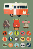 Camping lifestyle,  travel trailer — Vector de stock