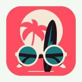Hot summer vacation icon — Stock Vector