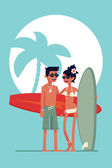 Surf boy and girl — Stock Vector