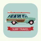 Wagon car with surfboard — Stockvector