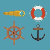 Anchor, spyglass, lifebuoy, steering wheel — Stock Vector