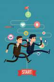 Businessmen competition run — Stock Vector