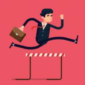 Businessman jumping over hurdle obstacle — Stock Vector