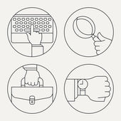 Circle thin line business icons — Stock Vector