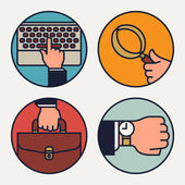 Circle trendy business icons — Stock Vector