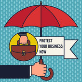 Business protection assurance with umbrella — Stock Vector