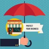 Business protection of  local shop — Stock Vector