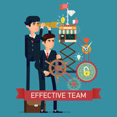 Effective team in business strategy — Stock Vector