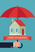 Home insurance with umbrella. — Stock Vector