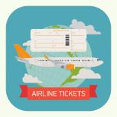 Airline tickets with jet airliner — Stock Vector