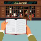 Reading book in front  bookshop — Vetor de Stock