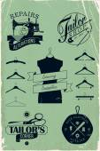 Vintage hangers silhouettes — Stock Vector