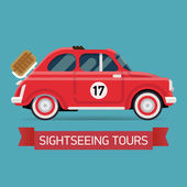 Sightseeing tours on retro car — Stock Vector