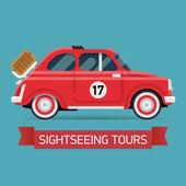Sightseeing tours on retro car — Vector de stock