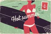 Woman in swim suit, summer vacation — Vector de stock