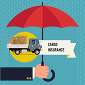 Cargo insurance with umbrella. — Stock Vector