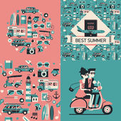 Best summer  cards and posters — Stock vektor
