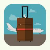 Suitcase and  airline jet plane — Stock Vector