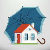 House protection with umbrella — Stock Vector