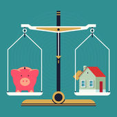 Piggy bank and house on scales — Vettoriale Stock