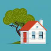 Small house building with tree. — Stock Vector