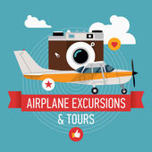Airplane excursions and tours — Stok Vektör