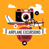 Airplane excursions and tours. — Stock Vector