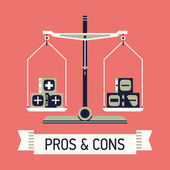 Pros and cons with balance scales — Stock Vector