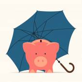 Piggy bank  with umbrella — Stock Vector