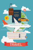 Airfare booking printable poster — Stockvektor