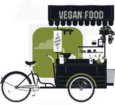 Bicycle cart with vegan food — Stock Vector