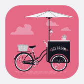 Ice cream retro bicycle cart — Stockvector