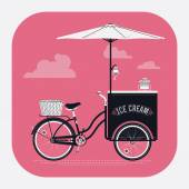 Ice cream retro bicycle cart — Stock Vector