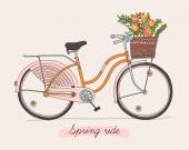 Retro bicycle with spring flowers. — Stock Vector