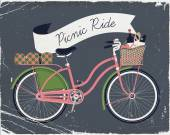 Picnic ride with vintage bicycle — Stock Vector