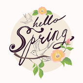 Hello Spring retro circle — Stock Vector
