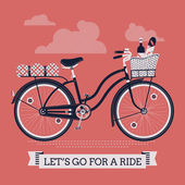 'Let's Go For A Ride' with vintage bicycle — Stock Vector