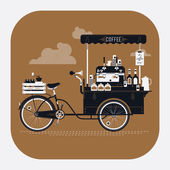 Street coffee bicycle cart — Stock Vector