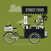Street food with retro bicycle — 图库矢量图片