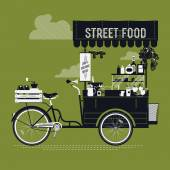 Street food with retro bicycle — Stock Vector