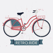 Retro ride with vintage bicycle — Stock Vector
